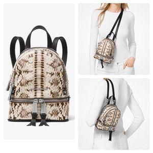 🔥NWT Michael Kors Rhea Snake-Embossed Backpack XS